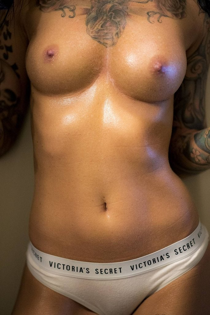 Baby oil tits