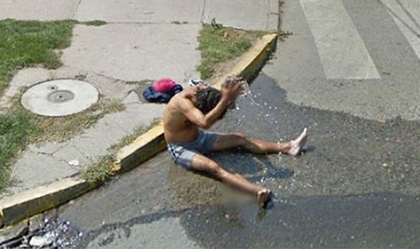 Funny naked guy in the street